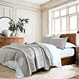 100% Cotton Quilt Set Queen Size, Light Grey Pre-washed 3-Piece Bedspread Coverlet Set, Cozy Lightweight Stitched Decorative Bedding Cover with 2 Shams in Geometric Pattern Rustic Style for All Season
