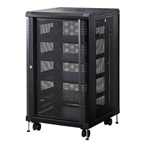 サンワダイレクト ルーター・NAS・ハブ収納ボックス 据え置き型サーバーラック ネットワーク機器収納 メッシュパネル 鍵付き 高さ995mm 100-SV014