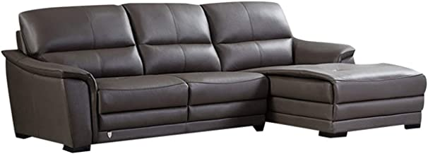 American Eagle Furniture Chandler Modern Italian Leather Left Facing Sectional Sofa, 108
