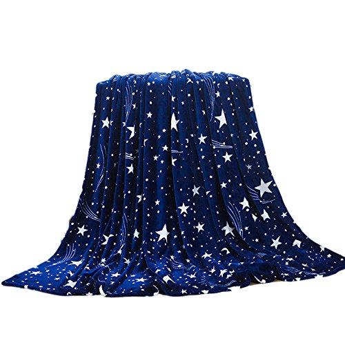 duquanxinquan Jeté de lit,Enfant Couverture en Flanelle,Couverture Polaire,Drap de Lit,Motif Etoiles Couverture de Canapé,Tout Doux Couverture,Plaid en Peluche pour la Chambre (XL)