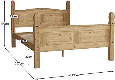 Marque Amazon - Movian Corona Lit double, 4 pi 6, cadre de lit haut de gamme, bois de pin massif