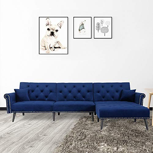"Knowlife Sectional Convertible Futon Sofa Bed, Mid-Century Velvet Sleeper Sofa with Reversible Chaise and 2 Pillows, 115""L Sofa Couch for Living Room and Small Space - Navy Blue"