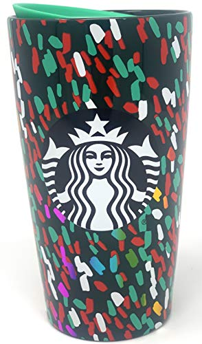 Starbucks Ceramic Travel Mug Limited Edition 2019 Green Red White Confetti