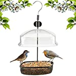 Denny Shop Hanging Garden Wild Bird Feed Peanut Seed Feeder Station with Height Adjustable and Baffle Dome by Crystals®
