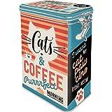 Nostalgic-Art Retro Kaffeedose Cats & Coffee-Idea de Regalo para propietarios de Gatos, Lata Grande para café con Tapa de Aroma, Diseño Vintage, 1,3 L