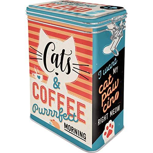 Nostalgic-Art Retro Kaffeedose Cats & Coffee – Geschenk-Idee für Katzenbesitzer, Große Blech-Dose für Kaffee mit Aromadeckel, Vintage-Design, 1,3 l