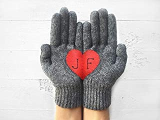 Personalized Gift For Valentine's Day, Heart Gloves, Monogram Gloves, Personalized Gloves, Gift For Girlfriend