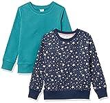Amazon Essentials Fleece Crew-Neck Sweatshirts Sudadera, Paquete de 2 Estrellas Azul Verdoso/Azul Marino, 10 años