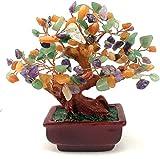 Nykkola Geld-Edelsteinmischung, Amethyst, Rose, Citrin, Karneol, klarer Quarz, Feng Shui, Pflanzen & Blumen, künstliche Bäume, bunt