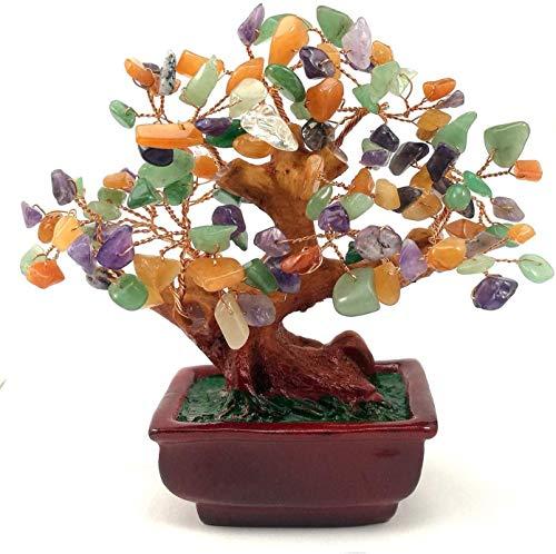 NYKKOLA Gemischte Edelsteine, Geld, Amethyst, Rose, Citrin, Karneol, klarer Quarz, Feng Shui, Pflanzen und Blumen, künstliche Bäume, bunt