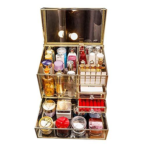 Caja de Almacenamiento de cosméticos Cuidado de la Piel Cubo de Cepillo cosmético Estante de Escritorio Caja de clasificación de Joyas con Tapa abatible de Gran Capacidad