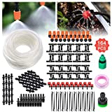 Irrigation System, Tvird Micro Drip Irrigation Kit, Gardena Micro Drip System,Patio Plant Garden Watering System 50ft Transprant Hose with 2 Kind of Spayers (20 Misting Nozzles +20 Adjustable Dripper)