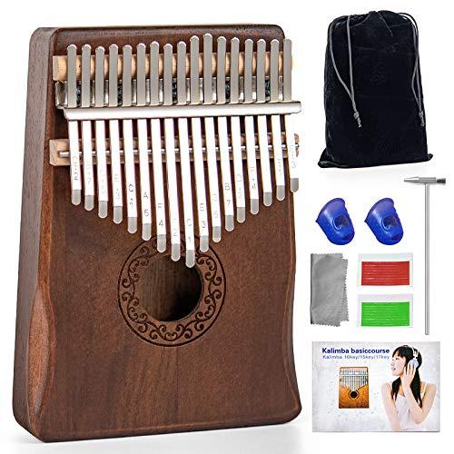 Kalimba Thumb Piano 17 Keys - Ucuber Portable Easy Operation Piano with Engraved Notes, Mahogany Wood, Best Gift Mother