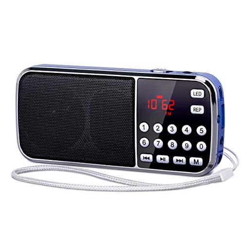 Radio Portatili FM/AM Aggiornamento PRUNUS L-189,Radio Portatile Ricaricabile con L'antenna Nascosta,Supporto USB/AUX/Micro TF Card, con Torcia di Emergenza.(Nessuna conservazione manuale)