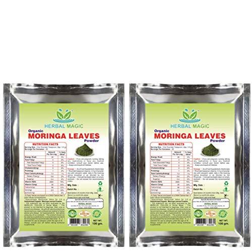 Certified Organic Pure Moringa Leaf Powder Rich in Vitamin C | A Calcium | Immunity Digestion 100g. (Moringa Leaf Powder - Pack 2)