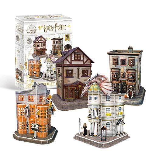 Revell 304 Hogwarts Diagon Alley, die Winkelgasse mit 4 Gebäuden Harry Potter Zubehör, farbig