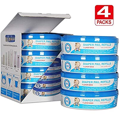 Upgraded Thicken 50%, Diaper Genie Refill Bags, Compatible with Diaper Genie Pails,4-6 Months Supply,1120 Count (Pack of 4) Save Money