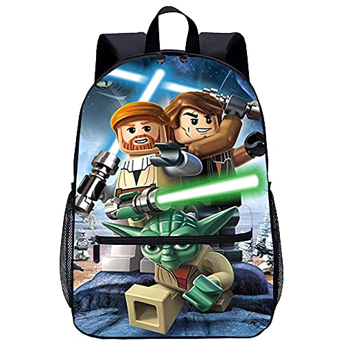 Zaino da scuola stampato in 3D Zaino Scuola Elementare-LEGO Star Wars III Le Guerre dei Clonida viaggio unisex di moda Borsa da scuola-Dimensioni: 45x30x15 cm/17 pollici-Zaini per la scuola per bamb