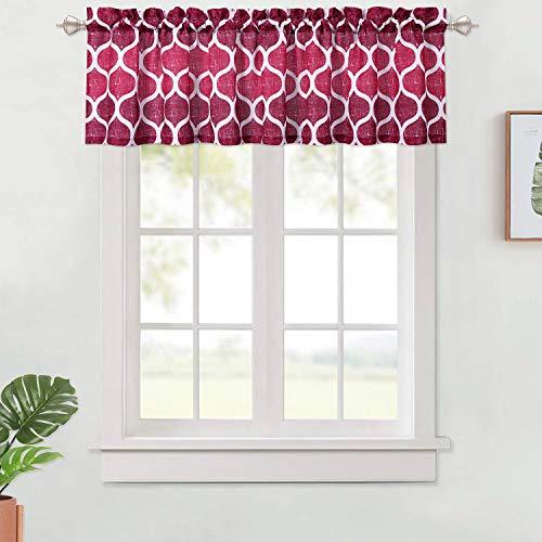Haperlare Volantvorhänge, Gittermuster, Querbehang für Badezimmer, kurzer Fenstervorhang, mit Stangentasche, zugeschnitten, für Küche, Café, 142,2 x 38,1 cm, Rot/Weinrot