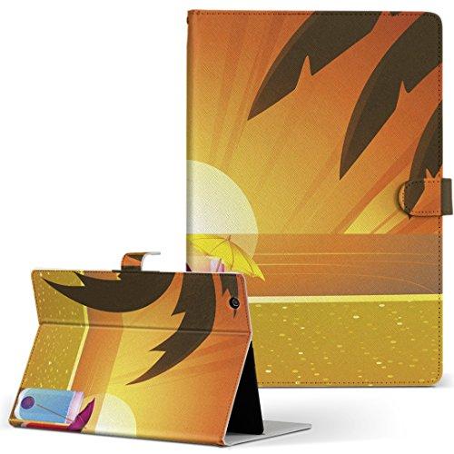 igcase KYT33 Qua tab QZ10 キュアタブ quatabqz10 手帳型 タブレットケース カバー レザー フリップ ダイアリー 二つ折り 革 直接貼り付けタイプ 001415 その他 ジュース 海 ヤシの木