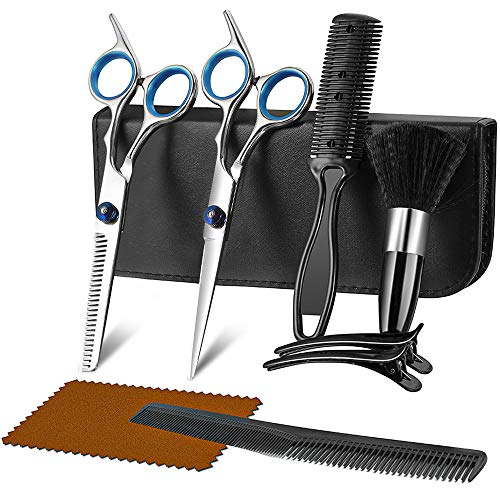 Hair Cutting Scissors Kit for Men & Women, 9 in 1 Professional Hair Scissors Set, Barber Hair Shears with Hair Scissors, Thinning Scissors, Razor Comb, Hair Comb, Clips, Brush, Leather Holster
