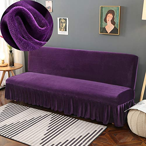 LINGHAN funda de sofá de terciopelo grueso con falda, suave, elástica, sin brazos, funda para sofá cama, funda para sofá cama, plegable, fácil de instalar, funda elástica para sofá