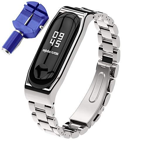 KOMI Correa de acero inoxidable compatible con Xiaomi Mi Band 4 / Mi Band 3, correa de repuesto de metal para hombre y mujer
