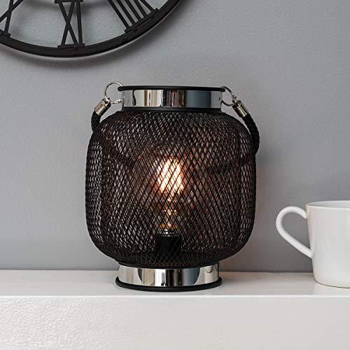 Festive Lights BL103 batteriebetriebene Designobjekt Metall Laterne, schwarz – mit Retro-Glühdraht LED Birne in warmweiß – TIMER-Funktion (B Globusform)