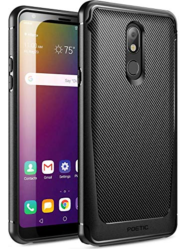 Poetic Karbon Shield Series Designed for LG Stylo 5 /LG Stylo 5X/ LG Stylo 5 Plus/LG Stylo 5V Case, Slim Fit Shock Absorbing Premium Flexible Soft TPU Case with Carbon Fiber Texture, Black