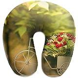 Hao-shop Linda Bicicleta y Estampado de Flores Tipo U Almohada Almohada de Cuello de Espuma para Viajar Dolor de Cuello Suave con Material Resistente