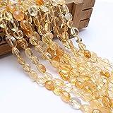 JWGD Naturstein-Perlen, 8–10 mm, unregelmäßiger Citrin, gelbe Kristallsteinperlen für Schmuckherstellung, Armband, Halskette, 38,1 cm