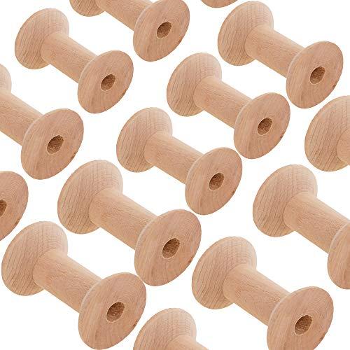 20Stück Nähgarn Spulen Holz Leere Spule Gewinde Spulen Fadenspulen Holz Spule Holzspulen Spulenkopf Nähen Garnspulen Natürlichen Draht Weben Spulen Holz Farbe 47mm*31mm