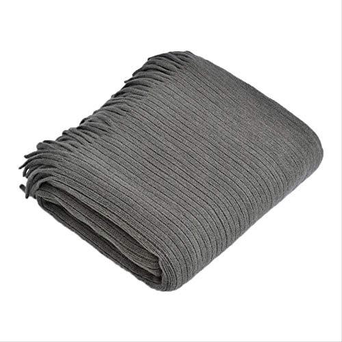 LUCKYYY Deken Napping Deken Nordic Ins Gebreide Gestreepte Deken Slaapbank Staart Handdoek