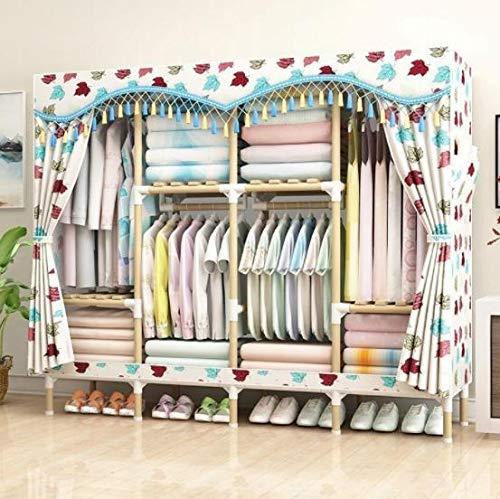 Lmz Geassembleerde eenvoudige kledingkast massief hout enkele doek kledingkast opslag rack niet-stalen frame niet-plastic dubbele opslag kast meubels