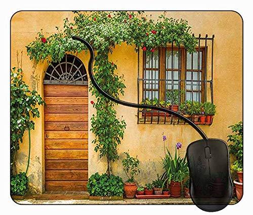 Juzijiang Alfombrilla de Ratón Macetas Plantas Verdes Frescas, Alfombrilla Gaming, Base de Goma Antideslizante para Gamers, PC Portátil - 24x20cm