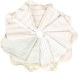 ハンカチ 赤ちゃん ベビータオル オーガニックコットン 柔らかい ベビービブ 25*25㎝ 10枚