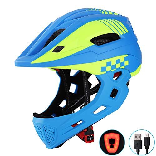 Hihey Kinderhelm Kinderhelm mit Kinnschutz, Fahrradhelm für Mädchen und Jungen im Alter von 2-10 Jahren, passt Kopfgröße 52-56(Blau Gelb)
