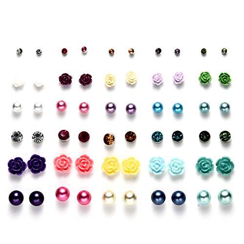 30 Coppie Mescolare Colorato Perle Palla Cristallo Fiore set Orecchini Per Ragazze,Anallergici