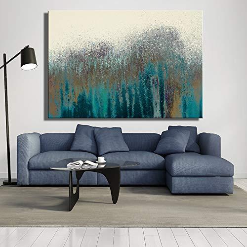 Abstracte wandschilderijen moderne olieverfschilderijen op posters en kunstdrukken op canvas zandkleur donkergroen zonder lijst voor de decoratie van de woonkamer.