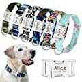 Beirui Personalized Dog Collar with Name Plate - Fashion Patterns Custom Dog Collar with Quick Release Buckle - Fits Medium Large Dogs,S,M,L