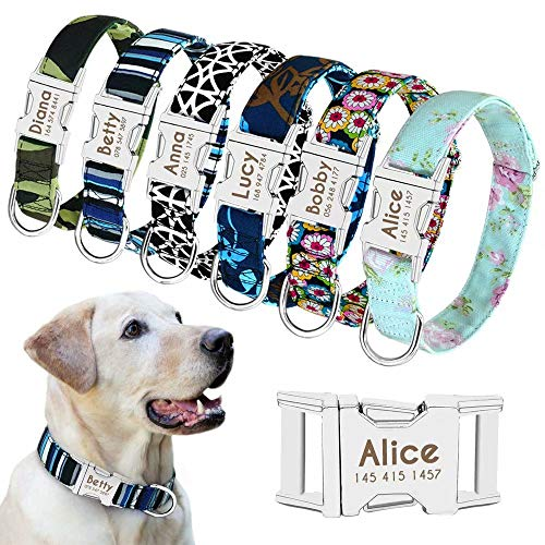 """Beirui Personalized Dog Collar with Name Plate - Fashion Patterns Custom Dog Collar with Quick Release Buckle - Fits Medium Large Dogs,Mint Green Floral,S(Width 5/8"""",Neck 10-15.5"""")"""