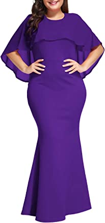 f3fd4851359 Innerger Womens Plus Size Ruffle Formal Gown Mermaid Evening Party Maxi  Dress
