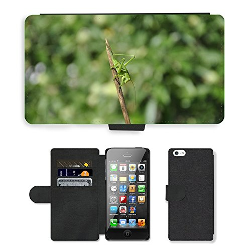 Grand Phone Cases PU LEATHER case coque housse smartphone Flip bag Cover protection // M00140902 Saltamontes Insecto verde viridissima // Apple iPhone 5 5S 5G