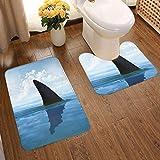 RIPO Juego de 2 Alfombrillas de baño con diseño de Aleta de tiburón sobre el mar, 80 x 50 cm, Antideslizantes, para Inodoro o o Inodoro