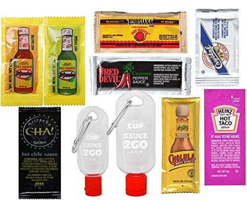 By The Cup Hot Sauce Packet Variety, Louisiana, Texas Pete, Cholula, El Yucateco, Crystal, Red Devil, Heinz, 8 Great Sauces, 80 Packets with 2 By The Cup Sauce 2 Go Keychains