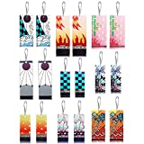 9 Pairs Tanjiro Earrings Anime Cosplay Dangle Earrings for Women Men Girls Acrylic Hanafuda Earrings (Color1- hook earrings)
