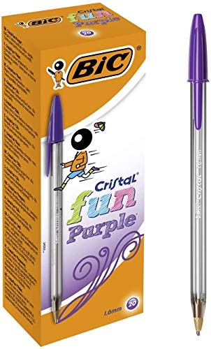 BIC Cristal Fun bolígrafos Punta Ancha (1,6 mm) – Morado, Caja de 20 unidades