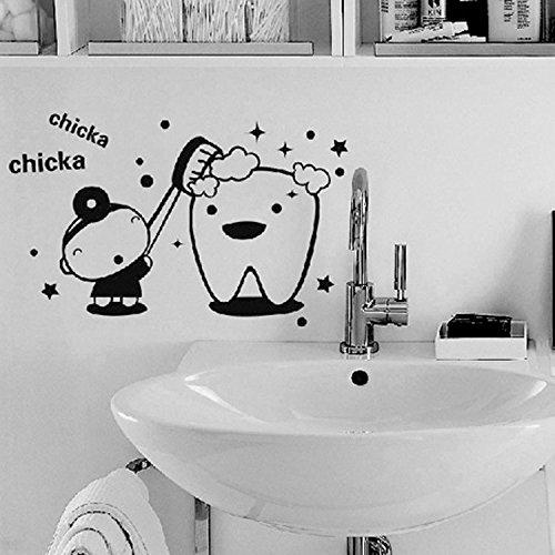 Glas lustige Kinder Chicka Zahnbürste Wandaufkleber wasserdicht Vinyl Aufkleber Kinder Bad Waschraum Dekoration Cartoon niedlichen Waschbecken Aufkleber Kunst Wandbild Poster