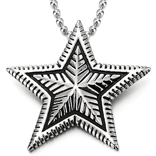COOLSTEELANDBEYOND Estilo Vintage, Pentagrama Estrella Colgante, Collar con Colgante de Hombre Mujer, Acero Inoxidable, Bola Cadena 60CM