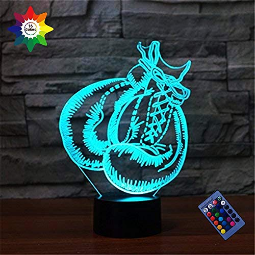 3D Boxing Gloves Night Light 16 Colors Changing USB Powered Remote Control Touch Switch Decor Lamp Optical Illusion Lamp LED Table Desk Lamp Children Kids Christmas Brithday Gift